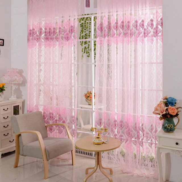 1 pcs Curtain 200*100cm Pink Floral Valance Voile Curtains for ...