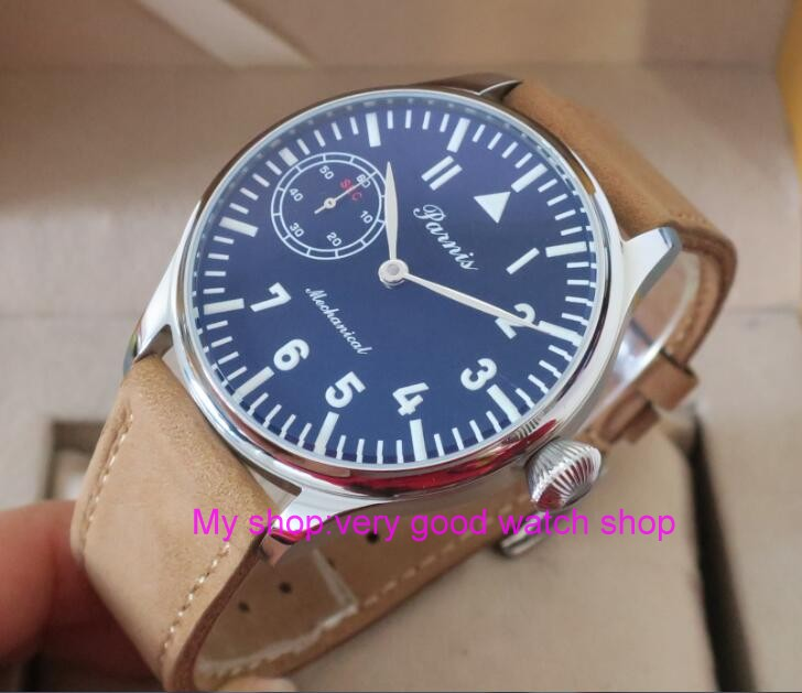 2016 new fashion 44mm PARNIS pilot black dial 6497/3600 Mechanical Hand Wind movement High quality men's watch wholesale 62 2016 new fashion 44mm parnis pilot black dial 6497 3600 mechanical hand wind movement sapphire crystal men s watch 63a