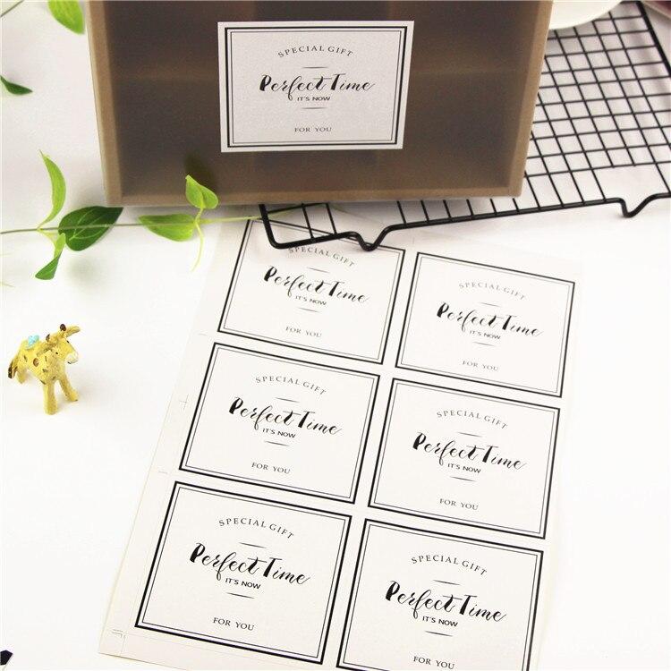 60Pcs 10Sheets White Rectangle Perfect Time Cake Packaging Sealing Label Kraft Sticker Baking DIY Gift Stickers