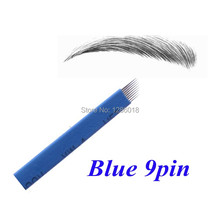 50 PCS Blue 9 Pin Tattoo Needles Permanent Makeup Eyebrow Embroidery Blade For 3D Microblading Manual Tattoo Pen
