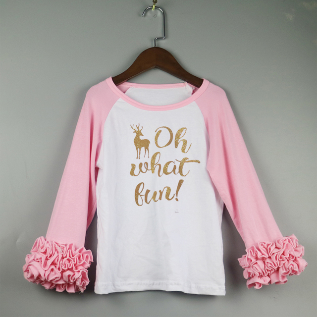 pink icing t shirts for girls oh what fun christmas ruffle shirts icing long sleeve - Christmas Shirts For Girls