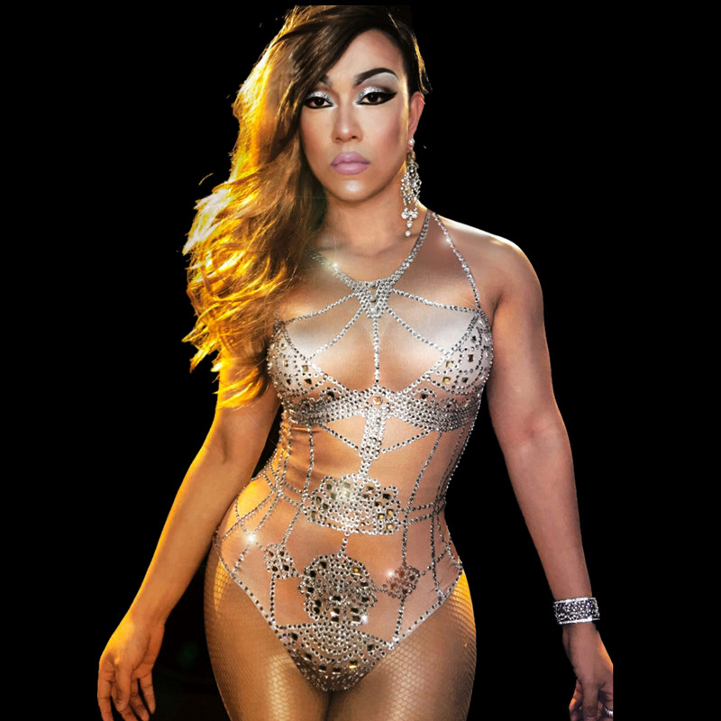 Christia Bella Sexy Nude Rhinestones Bodysuits Nightclub Stretch Skinny Jumpsuits Women Pole Dance Leotard DS Stage Costumes