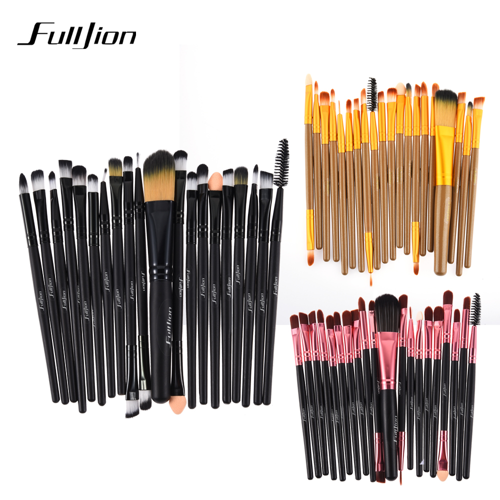 Professional 20Pcs Makeup Brushes Set Pro Powder Blush Foundation Eyeshadow Eyeliner Lip Gold Cosmetic Brush Kit Beauty Tools new lcbox professional 16 pcs makeup brush set kit pouch bag cosmetic brush kit cosmetic powder foundation eyeshadow brush tools