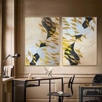 2 peças de Ouro art pinturas Abstratas da lona arte da parede pictures para sala de estar corredor de casa decoração da parede de aves de ouro acrílico quadro
