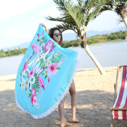 Fashion Flamingo Round 450G Beach Towel with Tassel 150CM Large Microfiber Printed Beach Towel Summer Swimming Towel