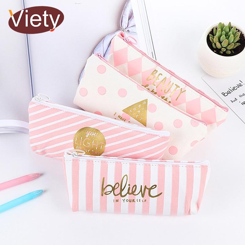 New fresh Pink Stripe case cute canvas pencil bag school supplies stationery estojo escolar material escolar pencil case