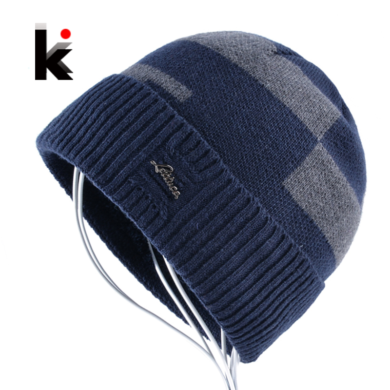 2018 Winter Knitted Hat Mens   Skullies   Fashion Knitting Wool   Beanies   Hat For Man Add Velvet Bonnet Hats Warm Chapeu Masculino