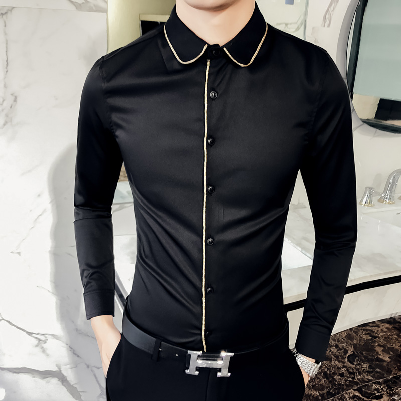 Brand New Men Shirt Spring 2018 Fashion Slim Fit Solid Mens Social Shirts Dress Long Sleeve Hairstylist Work Shirt Party Blouse