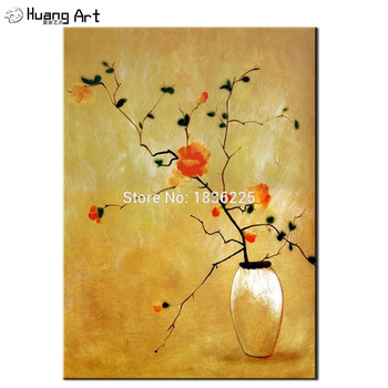 Handmade Abstract Painting on canvas Orange Flower Oil Painting for Living Room or Bedroom Decor Yellow Backgroud Wall Picture