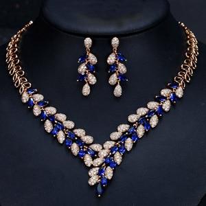 Image 5 - CWWZircons מדהים מעוקב Zirconia אבן דובאי שרשרת עגילי זהב נשים חתונה מסיבת אביזרי T288