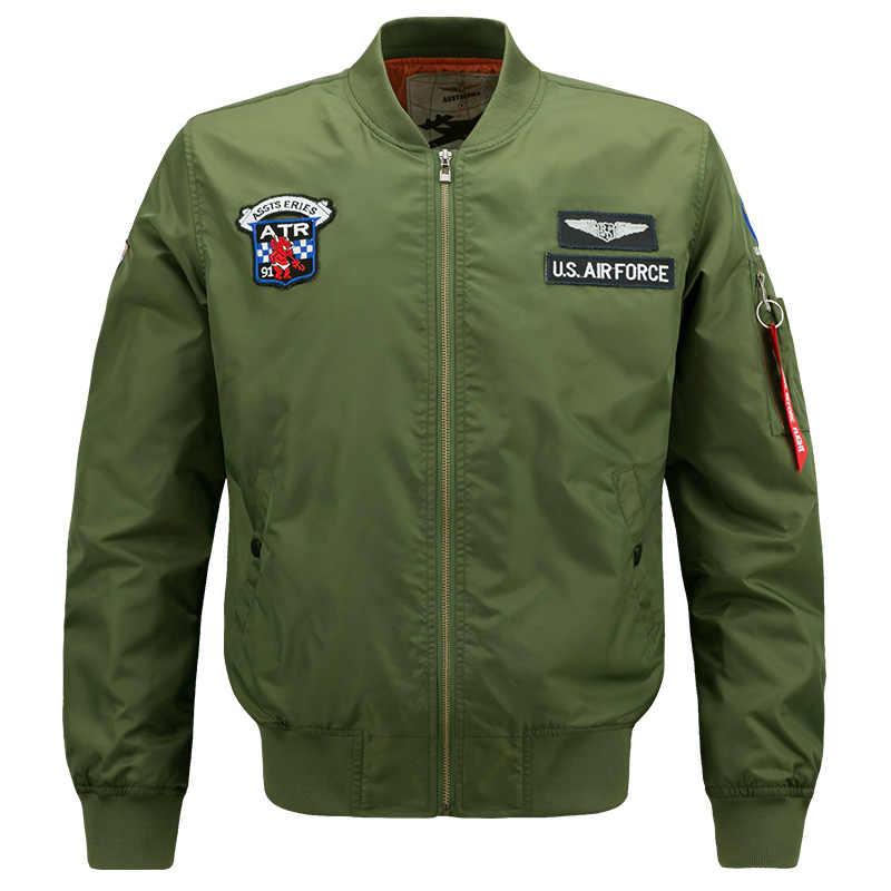 2018 primavera outono bombardeiro jaqueta de vôo dos homens militar piloto jaquetas casaco de beisebol blusão força aérea jaqueta varsity 5xl 6xl