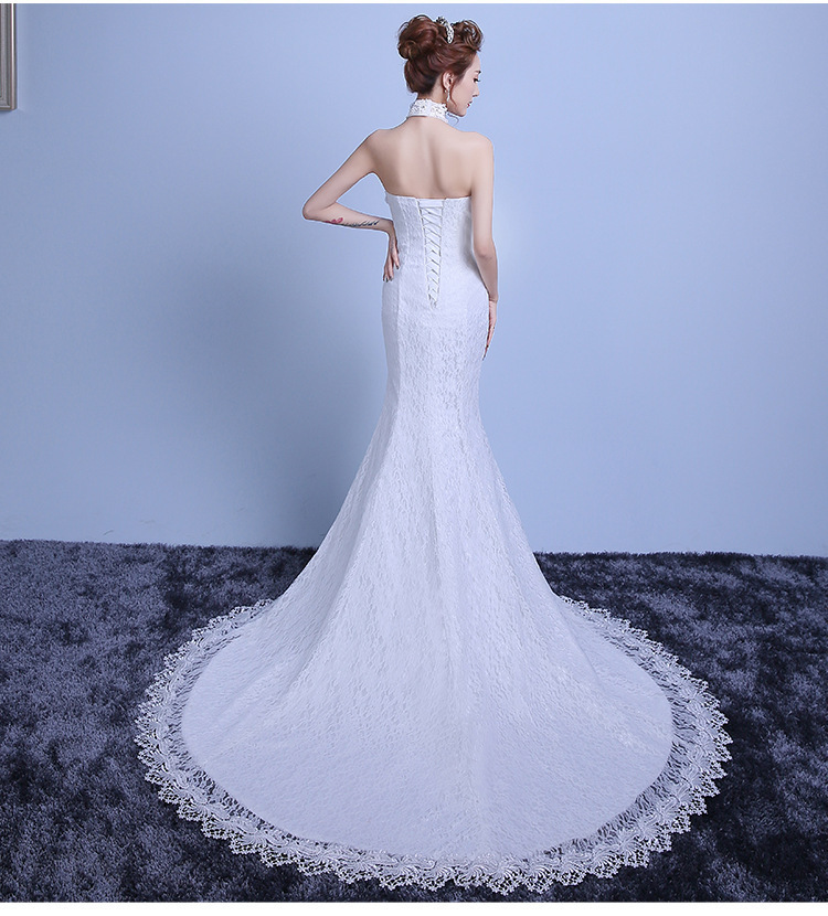 2018 Backlakegirls New Arrival Ivory Sleeveless Fashion Halter Lace Thin Waist Mermaid Small Tailing Bride Wedding Full Dresses