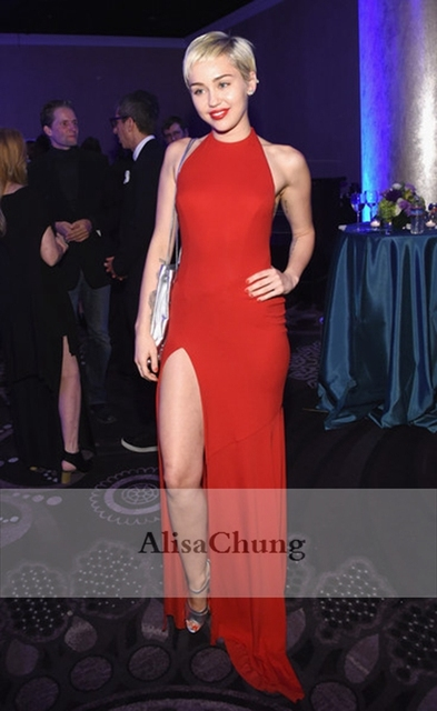 Miley Cyrus Red Halter neck High Slit Celebrity Evening Gown Prom ...