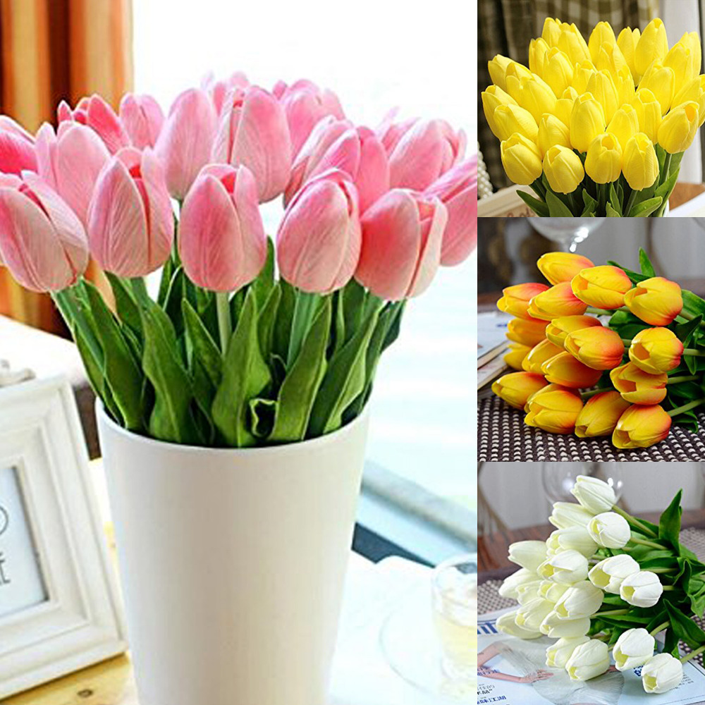 Ipopu 12pcs Lot Mini Tulip Flowers Artificial Flowers Wedding Party Decor Silk Flowers Home