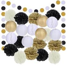 22 Pcs Tissue Paper Pom Poms Flowers Paper Lanterns Honeycomb Ball and Polka Dot Paper Garland for Wedding Party Decorations(China)