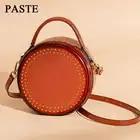 PASTE Bag Female 2018 Women Messenger Bags Genuine Leather Retro Rivet Small Shoulder Bag Casual Handbags Mini Round Bags LSH304