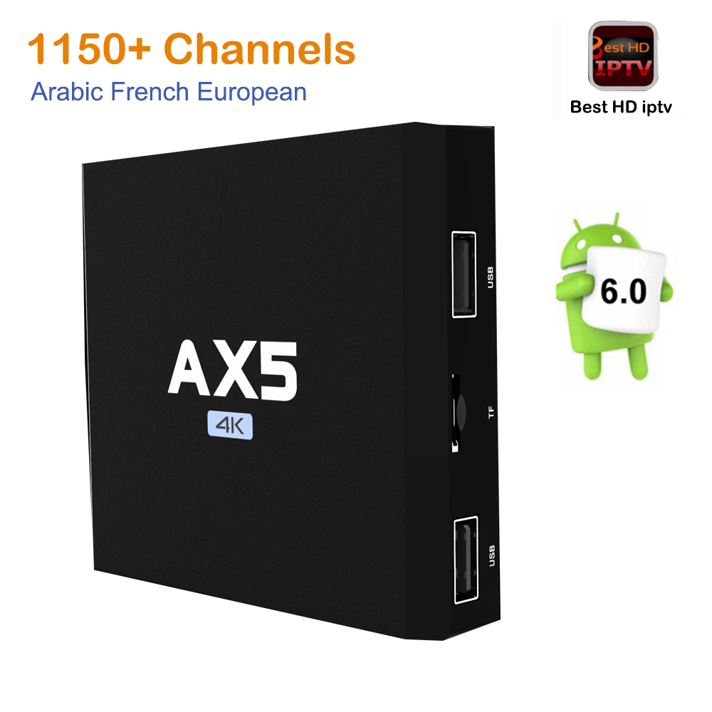 2GB/16GB AX5 S905X Android 6.0 TV BOX HD Smart tv Italy French Arabic iptv Box with 1 Year europe server 1150+ Channels Canal+