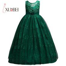נסיכת ארוך תחרה פרח ילדה שמלות Applique בנות תחרות שמלות ראשית הקודש שמלת ילדי מסיבת חתונת שמלה