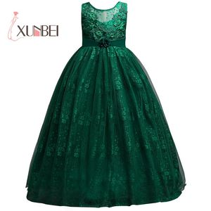 Image 1 - Princess Long Lace Flower Girl Dresses Applique Girls Pageant Dresses First Communion Dress Kids Wedding Party Gown