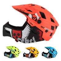 Crianças capacete da bicicleta rosto cheio destacável 2-10 anos de idade crianças capacete mtb bmx equilíbrio capacete da bicicleta esportes segurança casco ciclismo