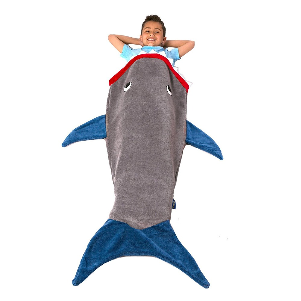 Shark Mermaid Tail Blanket Air Sofa Throw Rugs Soft Fleece Travel Sleeper Stroller Children Sleeping Bag Child Bed Blankets Mat image