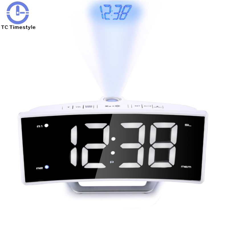 Arc радио Проекция Будильник стол большой светодиодный зеркало часы электронные Цифровой Световой настольные часы зарядка через usb Функция
