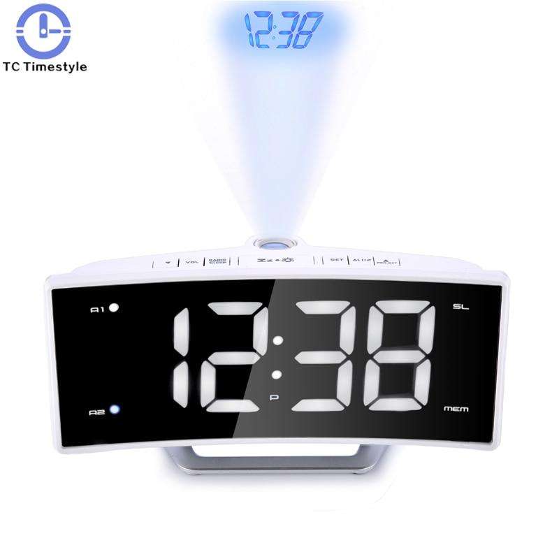 Arc Radio Projection Alarm Clock Desk Large LED Mirror Watch Electronic Digital Luminous Table Clocks USB Charging Function