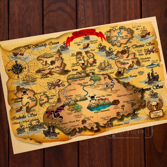 The arc island adventure pirate map classic vintage retro kraft decorative poster maps home bar posters