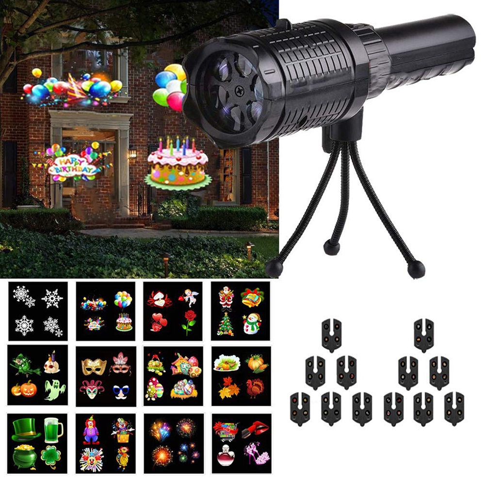 USB Rechargeable 2 In 1 Projection Handheld Flashlight With 12 Patterns Christmas Halloween Projector Lights For Birthday Party