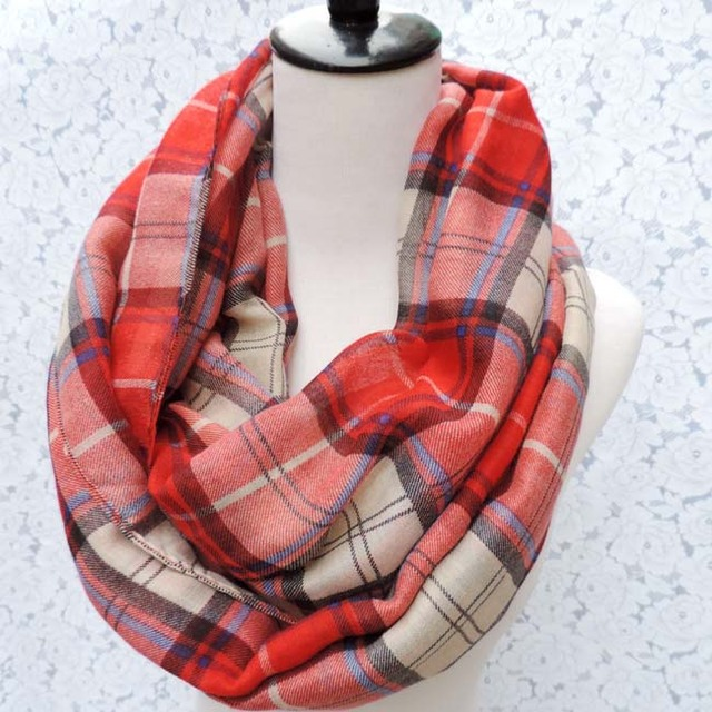 Free Shipping 2016 New Fashion Brand Tartan British Red Blue Beige Coffee Plaid Checked Infinity Scarves Snood For Women/Ladies