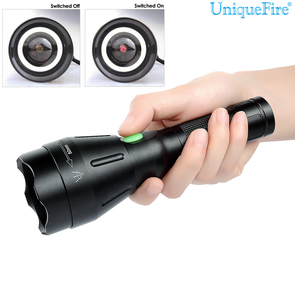 New Portable Lamp Uniquefire 1603-50 Waterproof LED Flashlight IR850 3 Mode Zoomable Rechargeable Torch For Outdoor Hunting 5000lm portable flashlight uniquefire uf 1400 5 mode 4 cree xm l2 led torch lamp for 4 18650 li ion rechargeable battery
