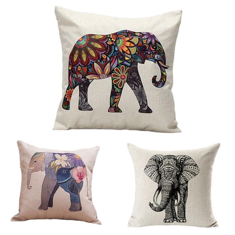 TTLIFE Elephant Pillow Case Elephant Pillowcase Creative Cartoon Elephant Throw Pillow Case Pillow Cover Free Customization