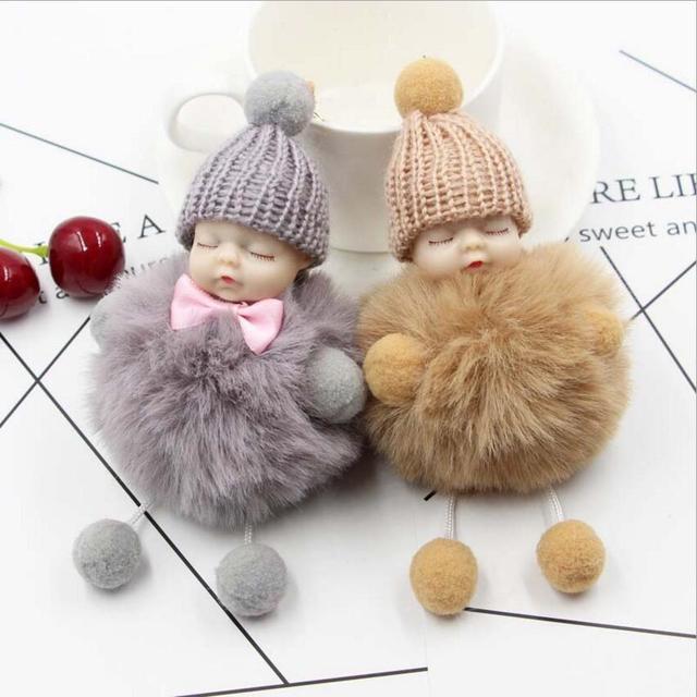 Bonito do sono do bebê fake Fur Pom Pom Mulheres Chaveiro Trinket keychain saco Chave Do Carro pingente Anel Chaveiro Jóias fofo keychain