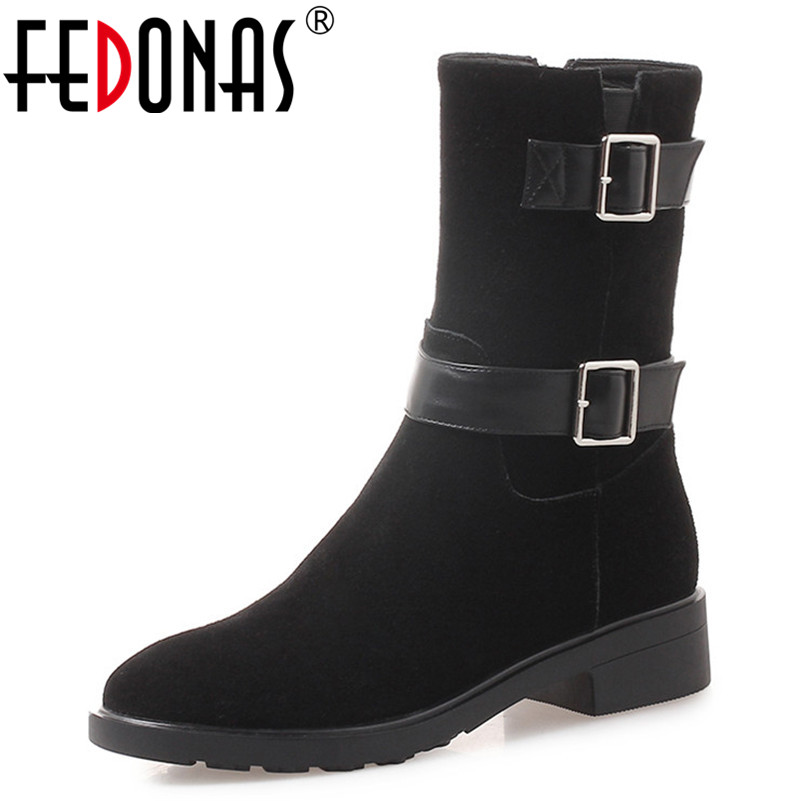 FEDONAS Fashion Brand Cow Suede Mid-calf Boots Thick Heels Autumn Winter Shoes Woman Motorcycle Boots Ladies High Party Boots fedonas lace up boots 2019 fashion thick heel mid calf boots women high heels autumn winter shoes woman platforms boots