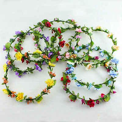 Женские заколки для девочек, большой цветочный венок, корона, повязка на голову, цветочные праздничные гирлянды, аксессуары для волос, красный, белый, фиолетовый