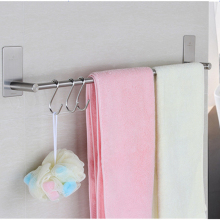 Single Rod Towel Rack 304 Stainless Steel Bathroom Towel Holder Punch Free Bath Hardware Accessories Towel Bar 70cm 55cm 40cm цена 2017