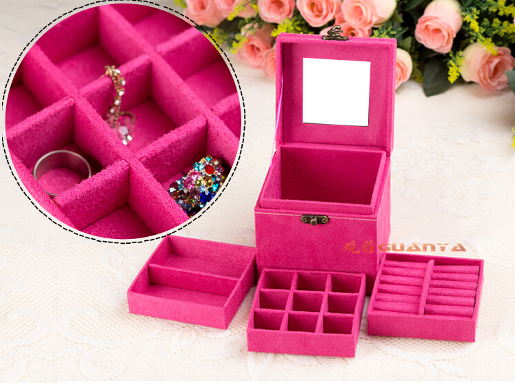 3 Layer Velvet Jewelry Box Case ,earring,ring ,necklace Organizer Jewelry Box Display,nice Birthday Gift,Many Color To Choose