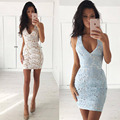 2016 new Lace dress deep V-neck sexy back cross hollow out dresses women summer beach party tank vestidos