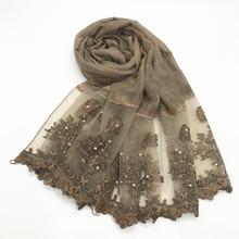 1pc Solid color Two Sides Lace Women foulard hijab Shawl Muslim Scarf Nailed Pearl Plain Stitching Wrap Female Malaysia Hijab