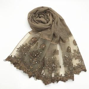 Image 1 - 1pc Solid color Two Sides Lace Women foulard hijab Shawl Muslim Scarf Nailed Pearl Plain Stitching Wrap Female Malaysia Hijab