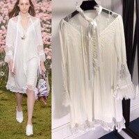 Новое поступление 2018 г. пикантные прозрачные летнее платье Для женщин Модный прямой белое кружевное платье Высокое качество натурального ш