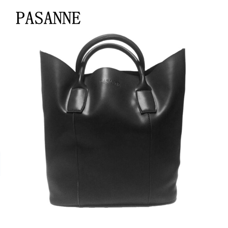 New Fashion Genuine Leather Bags for Women Leather PASANNE Fashion Woman Shoulder Bag Female Handbag Bucket Bags Handbags women wide shoulder strap leather handbag shoulder bag bucket chunky chain bag winter 2017 new female purse hand bags