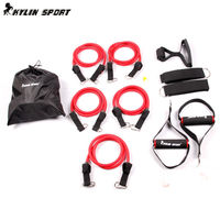 Full Red Double Resistance Bands Multifunction Resistance Bands Suspension Kit Strength Training Resistance Bands