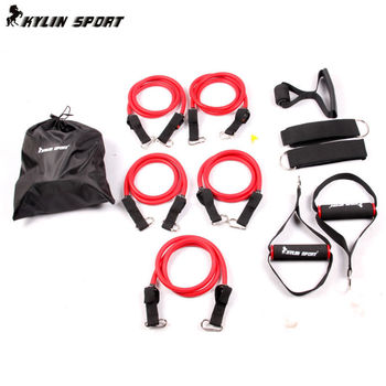 Full red double-resistance bands multifunction resistance bands suspension kit strength training  resistance bands