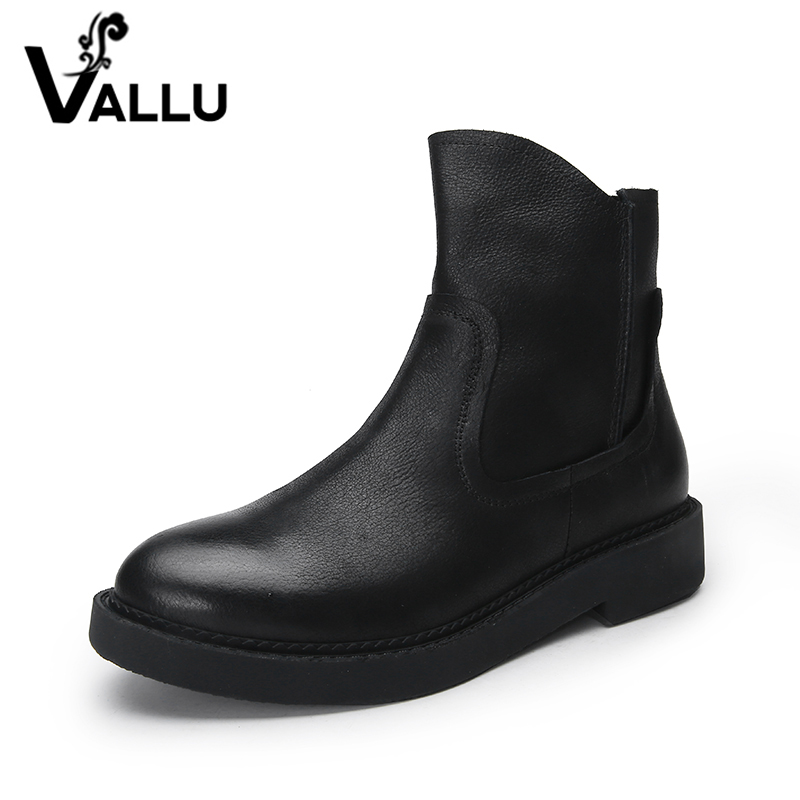 VALLU 2019 Natural Leather Shoes Women Boots Square Heel Round Toes Zip Cow Leather Black Ankle