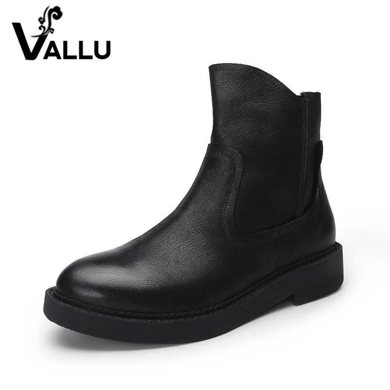 VALLU 2019 doğal deri ayakkabı kadın botları kare topuk yuvarlak ayak Zip inek deri siyah yarım çizmeler boyutu 41