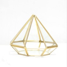 Copper Eight-sided Diamond-shaped Geometric Jewelry Box Glass Flower Room Golden Heart Shaped Tray Plate