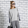 [TWOTWINSTYLE] Spring Retro Vintage Long Sleeves Hit Color Splicing Velvet Loose Hoodies Sweatshirt Women New Clothing