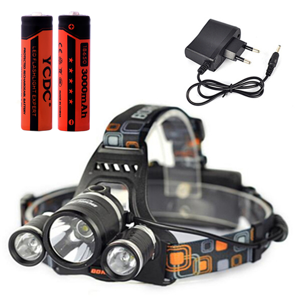 Cheap Headlamp With 18650 Battery +Charger 5000LM LED Head Torch Flashlight 18650 Battery Operated Headlight