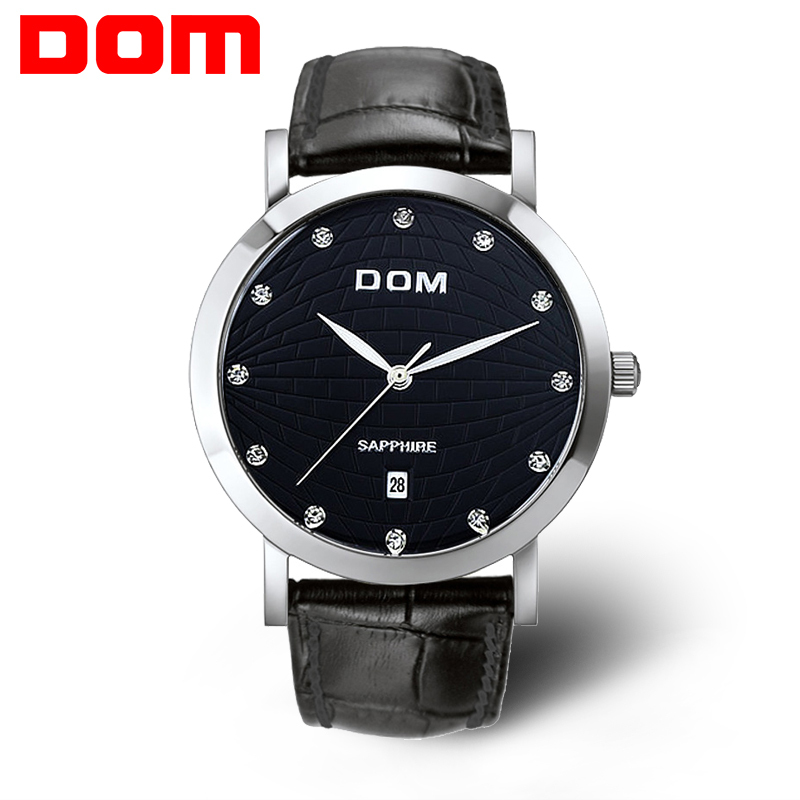 original DOM  Mens Watches Top Brand Luxury Quartz Watch Ultra-thin Fashion Leather Waterproof Watch Luxury Watch Montre Casual